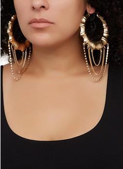 Rhinestone Layered Metallic Bamboo Hoop Earrings - 3122074974038