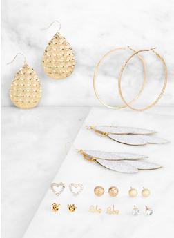 Set of 9 Metallic Hoop with Drop and Stud Earrings - 3122074974040