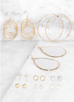 Glitter Metallic Drop and Stud Earrings - 3122074974041