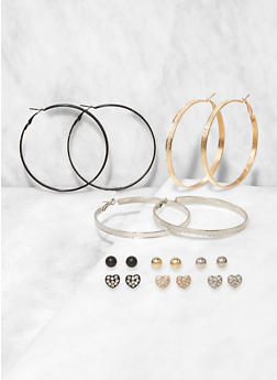 Assorted Metallic Hoop and Rhinestone Heart Stud Earrings - 3122074974045