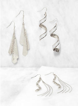 Glitter Metallic Drop Earring Trio - 3122074974050