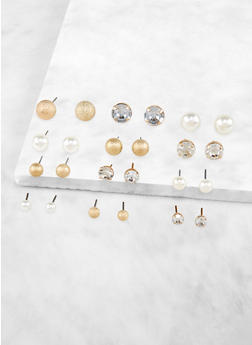 12 Variegated Stud Earrings Set - 3122074974051