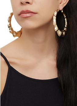 Textured Bamboo Hoop Earrings - 3122074974052