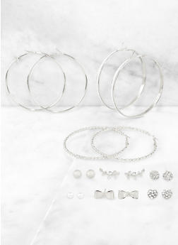 Shimmer Stud and Hoop Earrings Set - 3122074974054