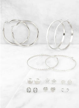9 Assorted Stud and Hoop Earrings - 3122074974055