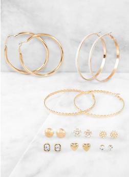 9 Assorted Stud and Hoop Earrings - 3122074974055