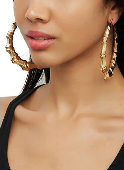 Metallic Bamboo Hoop Earrings - 3122074980557