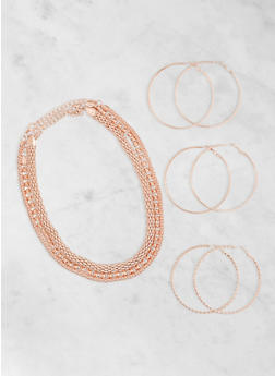 Assorted Necklaces and Hoop Earrings Set - 3123003201013