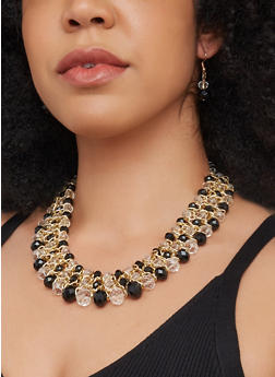 Beaded Bib Necklace with Matching Earrings - 3123003201291