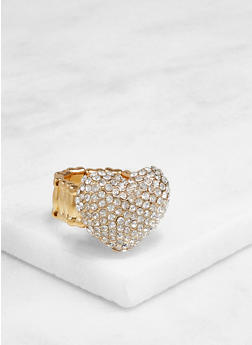Heart Rhinestone Stretch Ring - 3123003202434