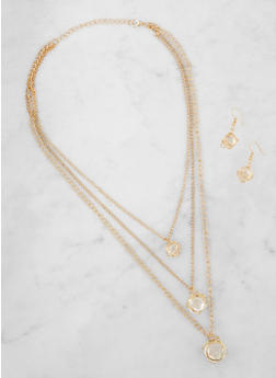 Long Layered Charm Necklace with Matching Earrings - 3123003203310