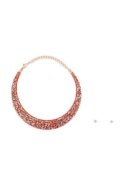Metallic Jewel Encrusted Collar Necklace with Earrings - 3123018435211