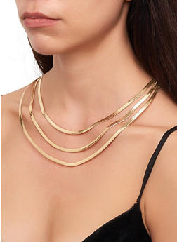 Flat Layered Necklace - 3123029360637
