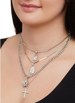 Layered Religious Rhinestone Necklace and Stud Earrings - 3123029363025