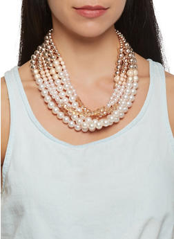 Faux Pearl Beaded Necklace and Earrings - 3123035150178