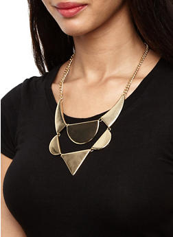 Tiered Geometric Necklace and Earrings Set - 3123035150193