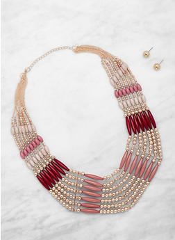 Beaded Collar Necklace and Stud Earrings - 3123035150536