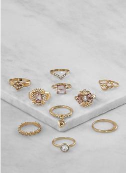 Assorted Rhinestone Rings Set - 3123035150584