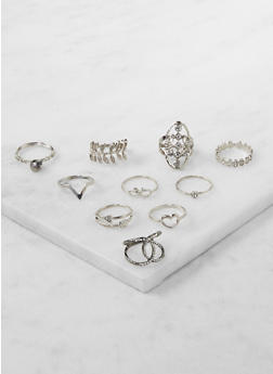 Set of 10 Assorted Rings - 3123035150585