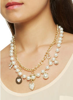 Faux Pearl Charm Necklace with Bracelet and Earrings Set - 3123035150598