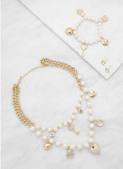 Faux Pearl Charm Necklace with Bracelet and Earrings - 3123035150604