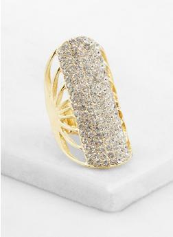 Long Rhinestone Stretch Ring - 3123035150840