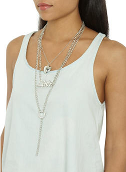 Layered Chain Charm Necklace with Stud Earrings - 3123035150845