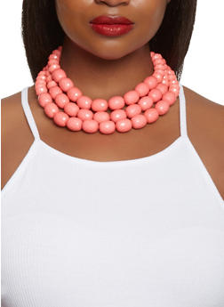 Beaded Layered Necklace with Earrings Set - 3123035150944
