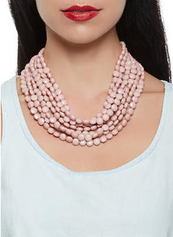 Layered Beaded Necklace with Matching Earrings - 3123035151963