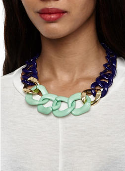 Chunky Link Necklace and Earrings Set - 3123035152085