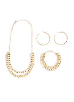 Curb Chain Necklace with Matching Bracelet and Hoop Earrings - 3123035152377
