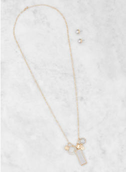 Glitter Charm Necklace with Stud Earrings - 3123035152690