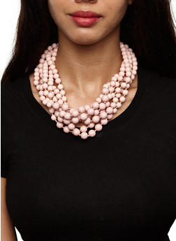 Long Layered Beaded Necklace and Earrings Set - 3123035152716