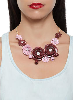 Metallic Flower Necklace and Earrings - 3123035152972