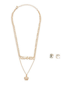 Layered Queen Charm Necklace with Large Stud Earrings - 3123035153035