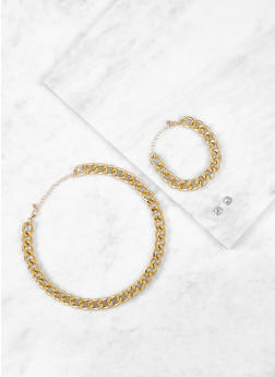 Curb Chain Necklace and Bracelet with Earrings - 3123035153255