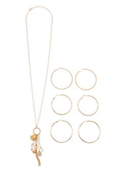 Charm Necklace with Hoop Earrings Set - 3123035153504