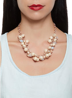 Beaded Necklace with Matching Earrings - 3123035153582