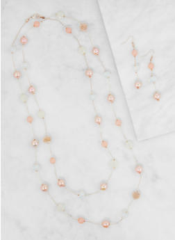 Long Beaded Necklace and Earrings Set - 3123035153851