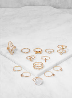 Assorted Metallic Rings Set - 3123035154515