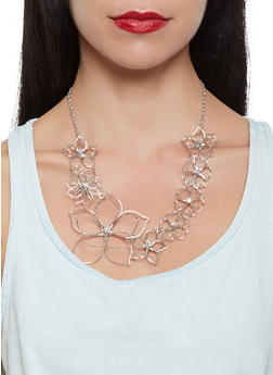 Wire Flower Necklace with Matching Earrings Set - 3123035154727