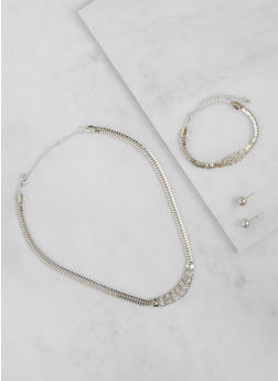 Rhinestone Necklace with Matching Bracelet and Earrings Set - 3123035155358