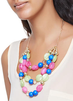 Beaded Necklace and Earrings Set - 3123035155359