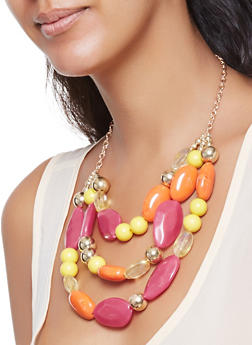 Layered Beaded Necklace with Earrings Set - 3123035155373
