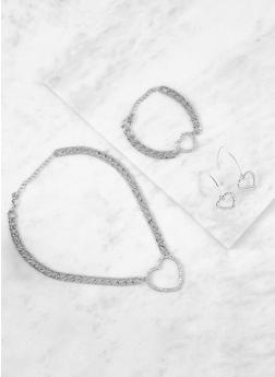 Heart Charm Necklace and Bracelet with Earrings - 3123035155469