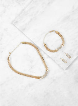 Metal Mesh Necklace and Bracelet with Drop Earrings - 3123035155507