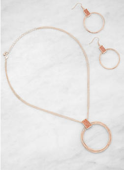 Glitter Hoop Necklace and Earrings Set - 3123035155559