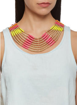 Beaded Collar Necklace and Drop Earrings - 3123035155852