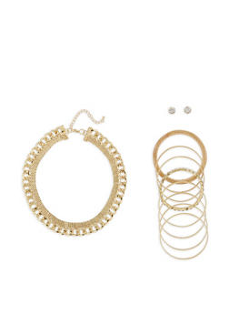 Metallic Chain Necklace with Stud Earrings and Bangles - 3123035156177