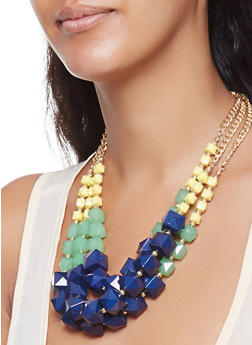 Layered Cube Beaded Necklace and Earrings Set - 3123035156421